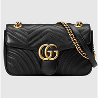GUCCI Cute Metal Logo Women Shopping Leather Metal Chain Crossbody Satchel Shoulder Bag Black I