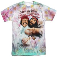 CHEECH & CHONG/FRIED TIE DYED -  S/S ADULT 100% POLY CREW - WHITE -