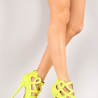 Wild Diva Lounge Jacklyn-49 Cut Out High Heel Shoes Pumps Lime Green 5-10
