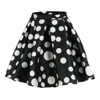 Black Polka Dot Flare Skirt