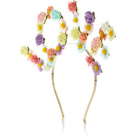 River Island Womens Yellow rose bud Love floral hairband