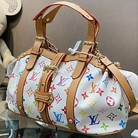 Bunchsun LV Fashion New Multicolor Monogram Print Leather Shoulder Bag Crossbody Bag Handbag White