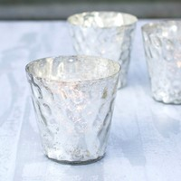 Mercury Glass Votive Candle Holder, 4 in. tall, Hammered, Silver, 6 pk