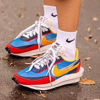 Nike LVD WAFFLE Fashionable Men Women Breathable Sport Running Shoes Snekers Blue&Red&Yellow