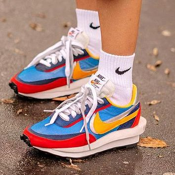 Sacai X Nike LVD WAFFLE Fashionable Men Women Breathable Sport Running Shoes Snekers Blue&Red&Yellow