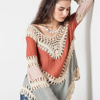 Bohemia Long Sleeve Hollow Out Blouse [6259230276]