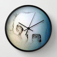 Elephant Dust, whimsical, elephant decor - 10 Inch Round Wall Clock - kitchen, nursery, childrens room, new home, fun - Made To Order-ED#78
