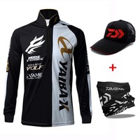 3pcs/set Long Sleeve Men Fishing Shirt Quick-drying Fishing Clothing Summer Breathable Sports Clothes With Cap Scarf