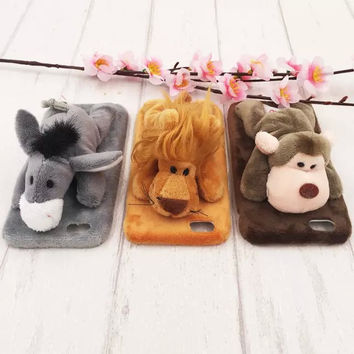 """Cute doll toy smartphone cases soft plush fur phone cases lion/sheep/giraffe cover for iphone 6 6s 5 5s 4.7"""" 6 plus 6splus 5.5"""""""