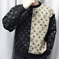 LV Louis Vuitton New fashion monogram print contrast color couple long sleeve top sweater