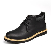 Waterproof Men Boots Leather Men Shoes Casual Lace Up Ankle Boots Western Winter Fashion British Dress Boots Cowboy