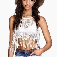 White See Through Lace Crop Top with Tassel