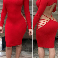 Red Open Back Cut Out Club Bodycon Dress