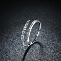 925 Sterling Silver Unique Casual Rings Thin Lining Swarovski Open Ring