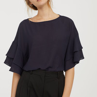 Blouse with Flounced Sleeves - Dark blue - Ladies | H&M US