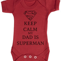 TRS - Calm Dad Is Superman Baby Bodysuit / Babygrow = 1945954692