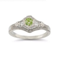 Vintage Peridot Floral Ring in .925 Sterling Silver