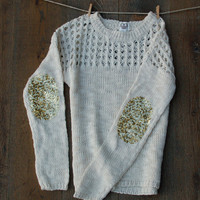 Sequin Elbow Patch Sweater Ivory Dazzle Patch Sweater Jumper w/Sequin Elbow Patch Women's Sparkly Elbow Patch Shirt Top