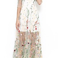 Solo Artist White Green Pink Sheer Mesh 3/4 Sleeve Boat Neck Floral Maxi Dress