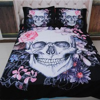 3D Skull Bedding sets Plaid Duvet Covers