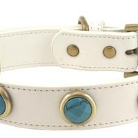 'Pebble' Faceted Turquoise on White Leather Dog Collar - Large Breeds