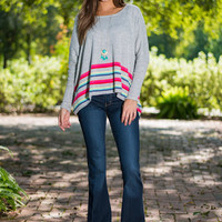 Rainbow Race Sweater, Gray