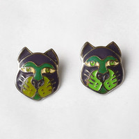 Vintage 80s Edgar Berebi Cat Earrings 1980s Figural Feline Face Post Silver Tone Colorful Enamel Costume Jewelry Pierced Earrings