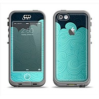 The Aqua Green Abstract Swirls with Dark Apple iPhone 5c LifeProof Nuud Case Skin Set