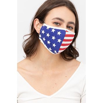 American Flag Printed Protective Washable Face Mask with Filter Pocket