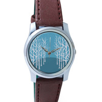 Winter Trees Illustration Wrist Watch
