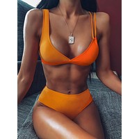 Two Tone Top With High Waist Bikini Set