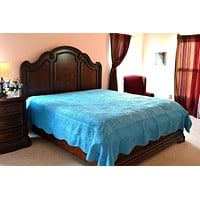 Tache Super Soft Blue Scalloped Coral Reef Bedspread Set (DXJ109013-2)