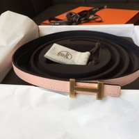 Hermes reversibe Belt Kit 13mm Sz 75 Gold H Constance Rose EGLANTINE Blue Indigo