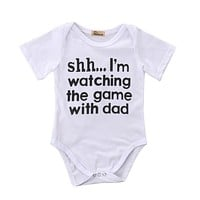 Cotton Newborn Infant Baby Boy Girls Clothes Shh I'M WATCHING THE GAME WITH DAD Short Sleeve Bodysuit Jumpsuit Clothing Outfits