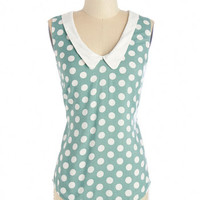 ModCloth Vintage Inspired Mid-length Sleeveless Summer Book Club Top in Mint