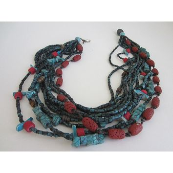 Southwestern Multi Strands Turquoise Bird Coral Beads Necklace