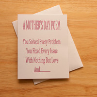 Mother's Day Card, Funny Card, Poem For Mom, Quirky Card, Adult Humor