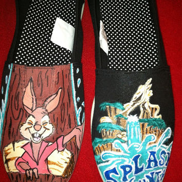 Girls custom hand painted acrylic canvas shoes disney splash mountain(SHOES INCLUDED)