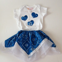 Baby Toddler 12 Months Girl Onsie With Matching Skirt Blue White Paisley Removable Country Western