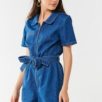 UO Hello Sunshine Denim Romper | Urban Outfitters
