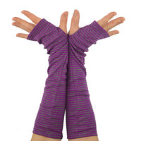 Arm Warmers in Purple and Grey Stripes - Sleeves - Fingerless Gloves