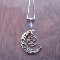 Pagan pentagram moon silver pendant with moonstone