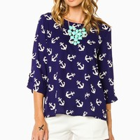 ShopSosie Style : Sea Anchor Blouse in Navy
