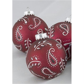 3 Christmas Ball Ornaments - Black And White Paisley