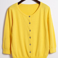 Yellow Long Sleeve Buttoned Cardigan