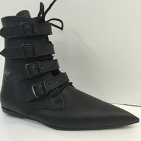 Original Pikes- 4 black buckles/laces boots