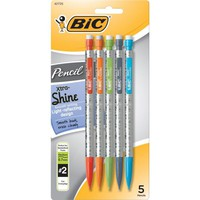 BIC® Xtra Shine Mechanical Pencils with Holographic Barrels, 0.7mm, 5/Pack | Staples