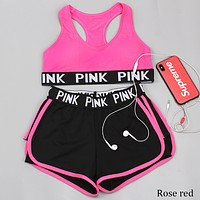Victoria's Secret new yoga clothing suit shockproof bra fake two-piece suit F0790-1 Rose red