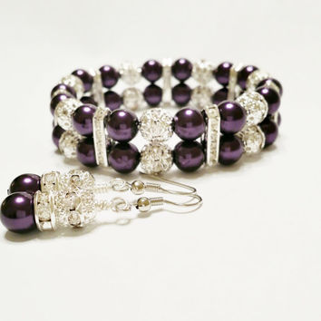 Bridesmaids Purple Pearl Bracelet and Earrings / Bridal Jewelry / Easter Jewelry / Wedding / Bridesmaid Jewelry / Earrings / Bridesmaid Gift