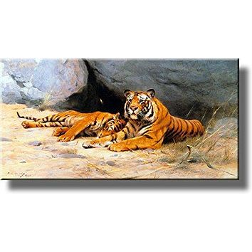 Tigers Resting by Kuhnert Picture on Stretched Canvas, Wall Art Décor, Ready to Hang!